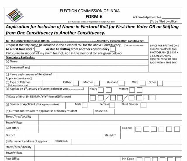 Form 6 Election Commission of india to register vote in India