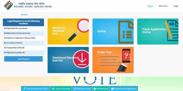 online registration process to register vote in India