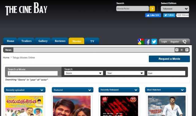 the cine bay watch telugu movies online