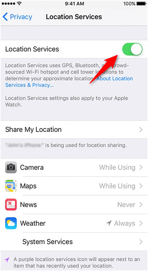 Turn off location settings